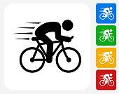 Man Biking Icon Flat Graphic Design