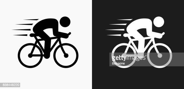 man biking icon on black and white vector backgrounds - sport set competition round stock illustrations