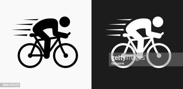 illustrazioni stock, clip art, cartoni animati e icone di tendenza di man biking icon on black and white vector backgrounds - tempo turno sportivo