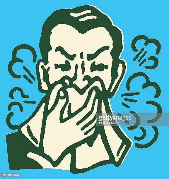 man blowing nose - sneezing stock illustrations, clip art, cartoons, & icons