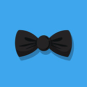 Man bow tie vector cartoon icon isolated on blue background.