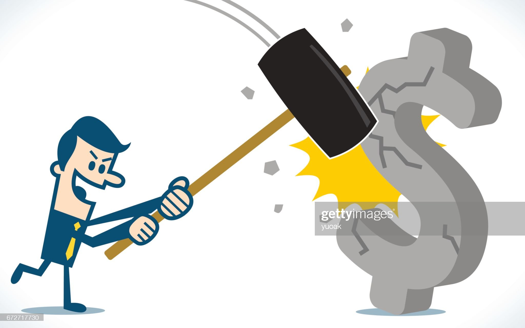 Man braking dollar sign with hammer : stock illustration