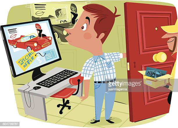 man buying online and get something wrong - spending money stock illustrations, clip art, cartoons, & icons