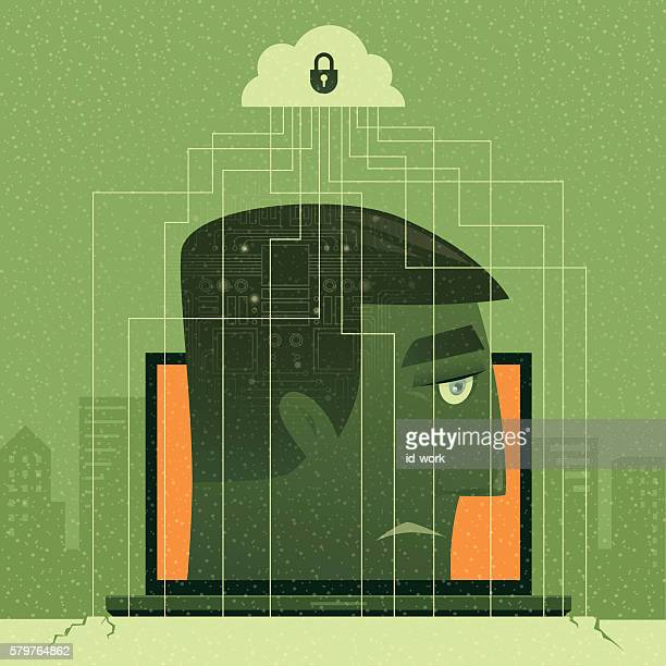 ilustraciones, imágenes clip art, dibujos animados e iconos de stock de man caged by internet - autismo