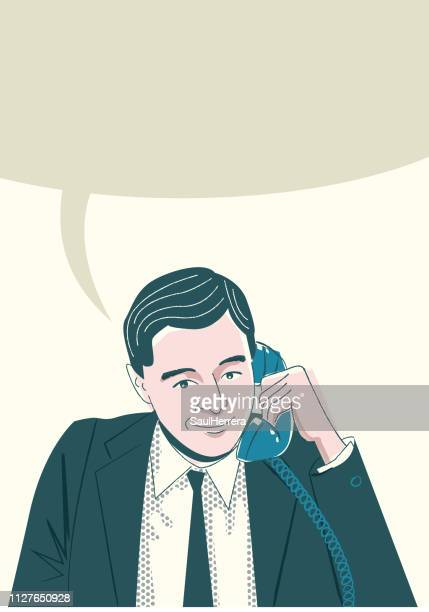 man calling for cell phone - adulto stock illustrations