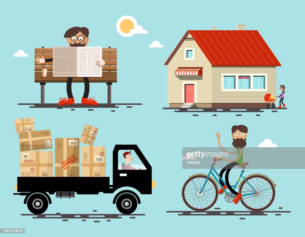 Man, Car, House, Bicycle Icons