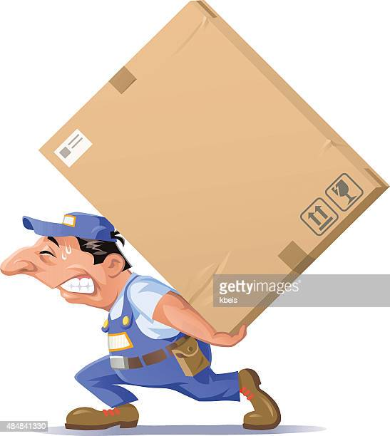 man carrying a big package - paperboard stock illustrations
