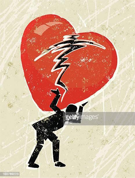 ilustraciones, imágenes clip art, dibujos animados e iconos de stock de hombre con un corazón roto sobre sus hombros - hombre llorando