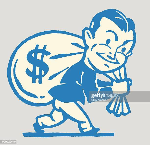 man carrying bag of money over his shoulder - money bag stock illustrations