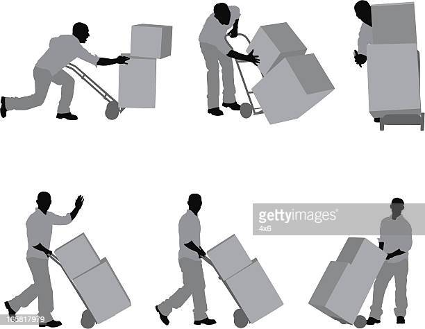 man carrying cardboard boxes in a warehouse - hand truck stock illustrations, clip art, cartoons, & icons