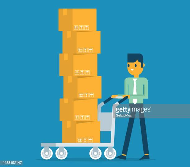 man carrying cardboard boxes - hand truck stock illustrations, clip art, cartoons, & icons