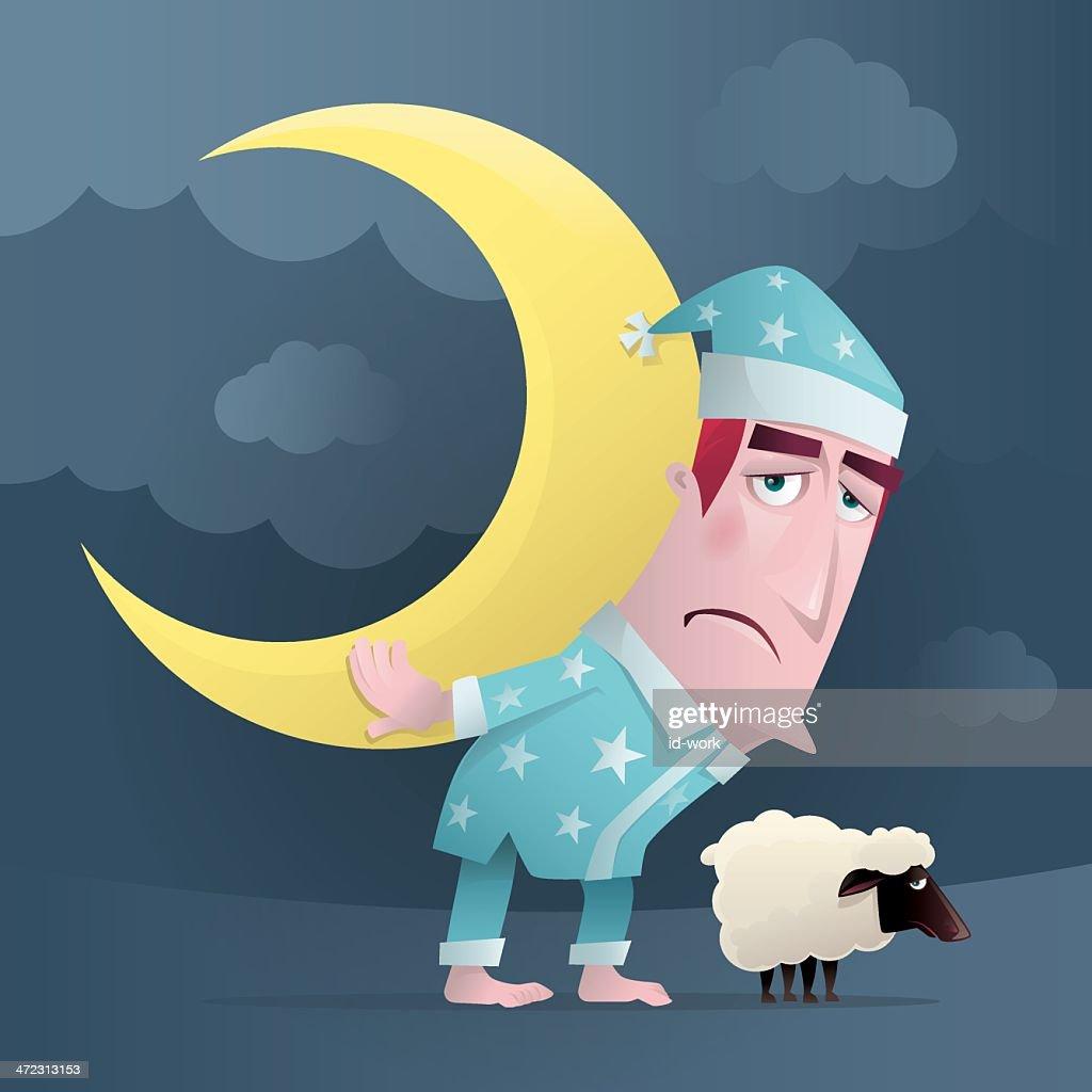 man carrying crescent moon : stock illustration