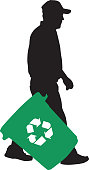 Man Carrying Recycle Container