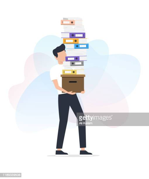man carrying stack of paper works - fileira stock illustrations