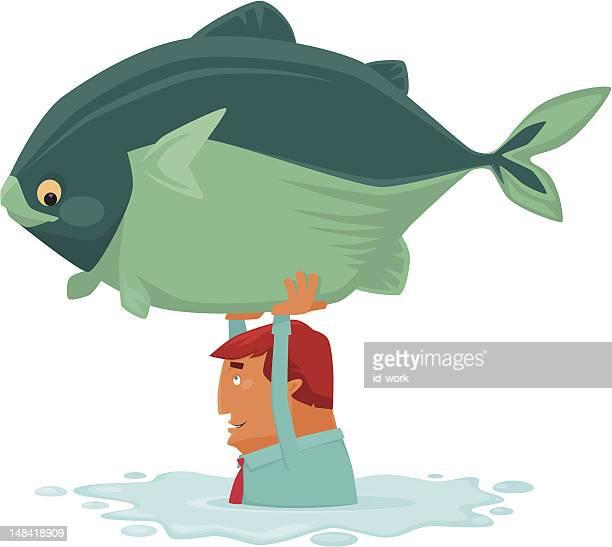 man catching big fish - puddle stock illustrations, clip art, cartoons, & icons