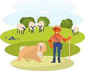man cattleman with Shepherd dog