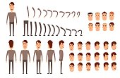 Man character creation set. Icons with different types of faces, emotions, clothes. Front, side, back view of male person. Moving arms, legs. Chair. Board. Flat and cartoon style. Vector illustration.