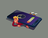 Man character depend on smartphone