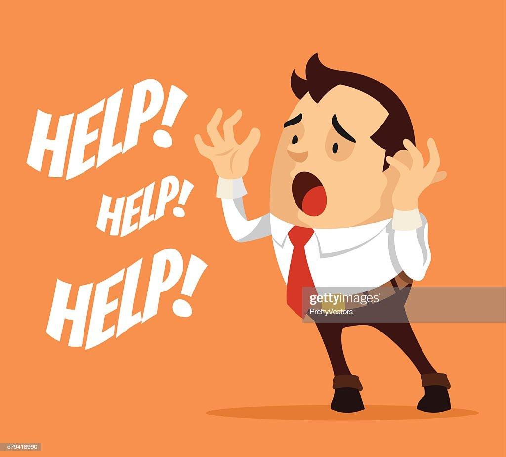 Man character need help. Vector flat cartoon illustration
