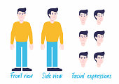 Man character set in casual clothes ready for animation: separated arms/legs/body, 2 poses, facial expressions.