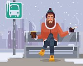 Man character waiting for bus. Vector flat cartoon illustration