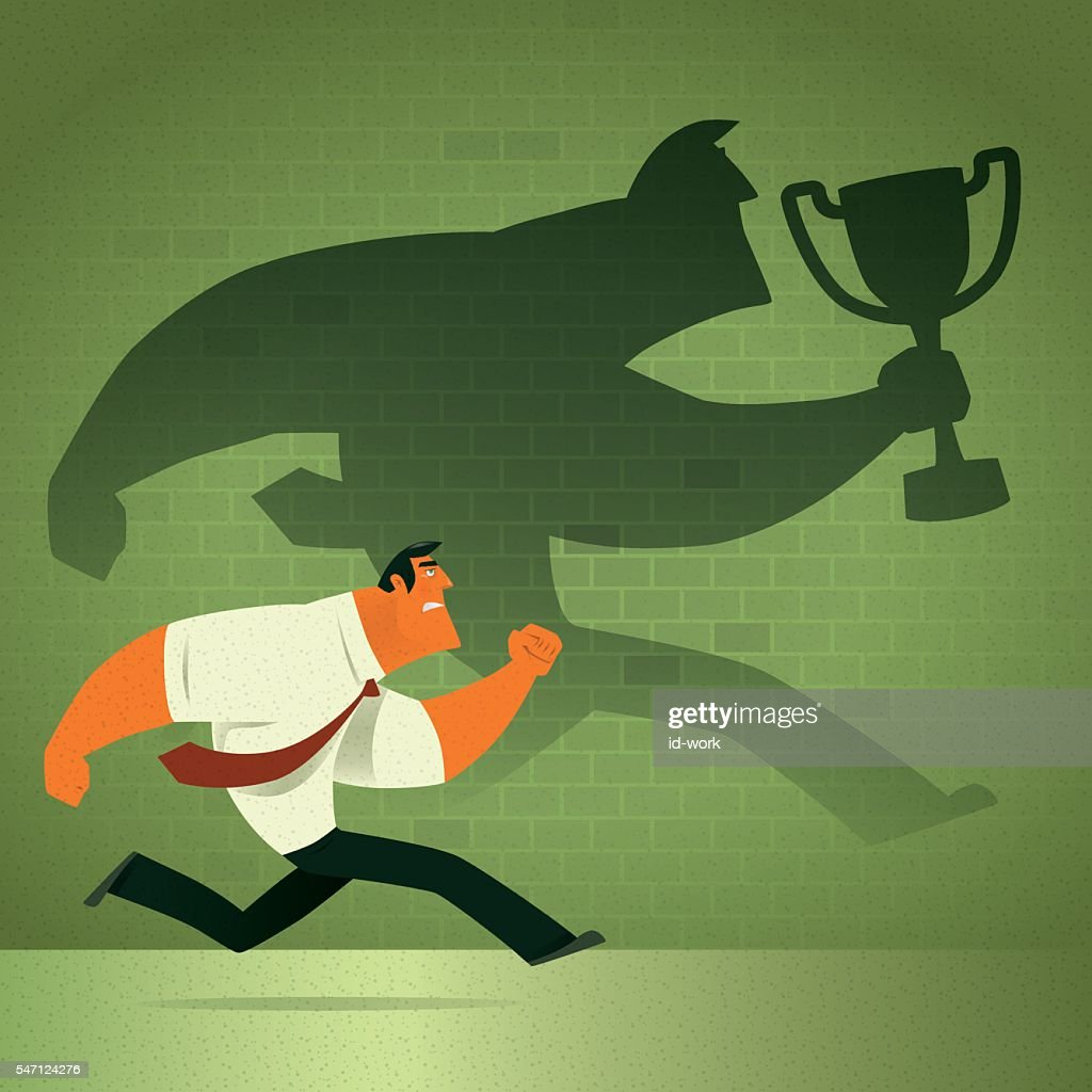 man chasing shadow : stock illustration