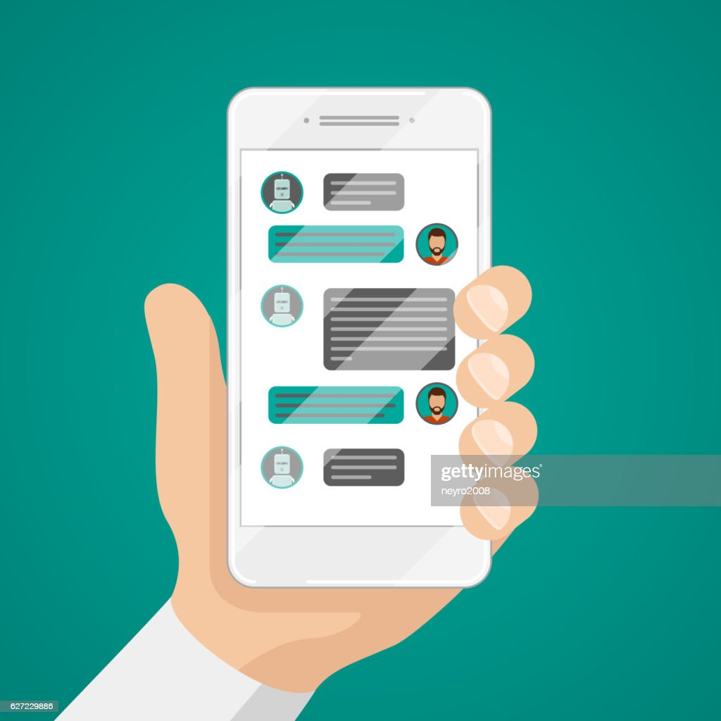 Man chatting with chat bot on smartphone vector illustration