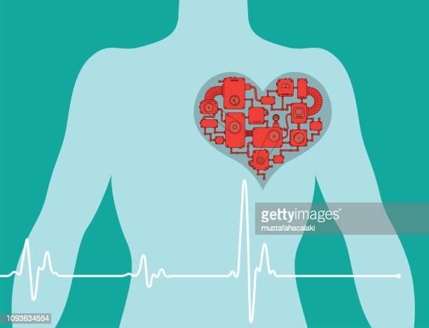 illustrations, cliparts, dessins animés et icônes de poitrine de l'homme avec le cœur artificiel - coeur humain
