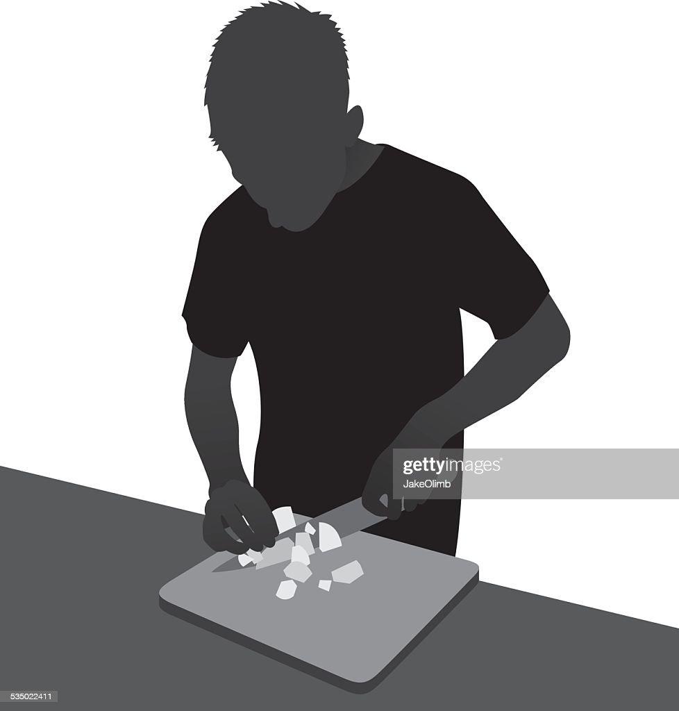 Man Chopping Onions Silhouette
