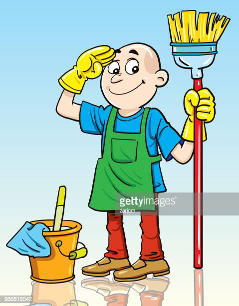 man cleaner - broom stock illustrations, clip art, cartoons, & icons