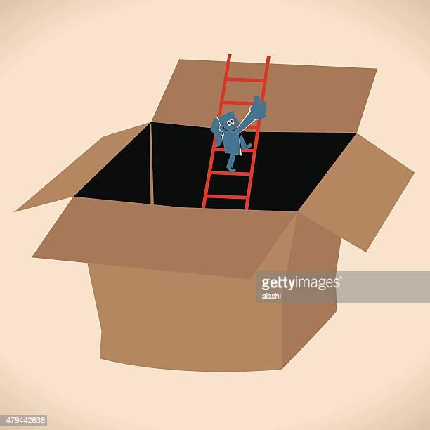 Homem (Empresário) escada escalada de uma caixa