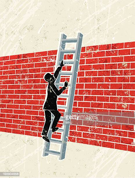 Man Climbing Ladder Over a brick Wall