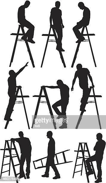 man climbing ladder - mechanic stock illustrations, clip art, cartoons, & icons