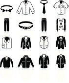 man Clothing and Menswear black & white vector icon set
