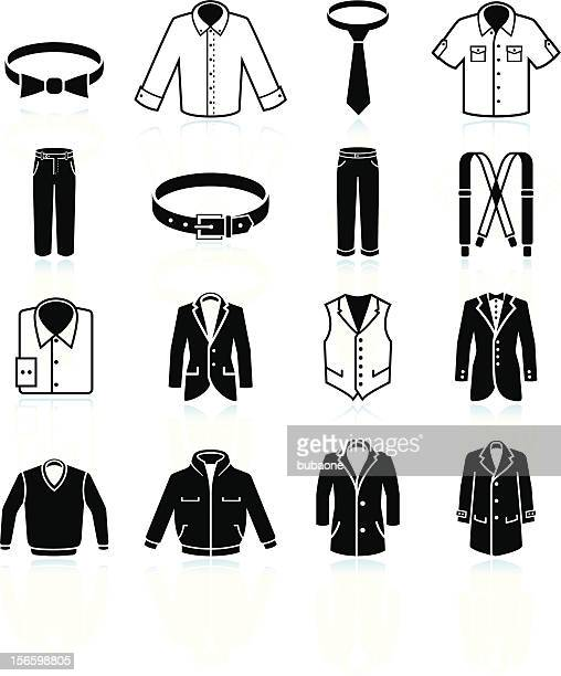 man clothing and menswear black & white vector icon set - waistcoat stock illustrations, clip art, cartoons, & icons