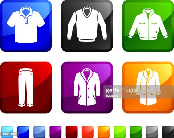 man Clothing and Menswear royalty free vector icon set stickers