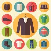 Man clothing icons set