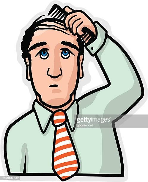 man combs hair over balding head - balding stock illustrations, clip art, cartoons, & icons