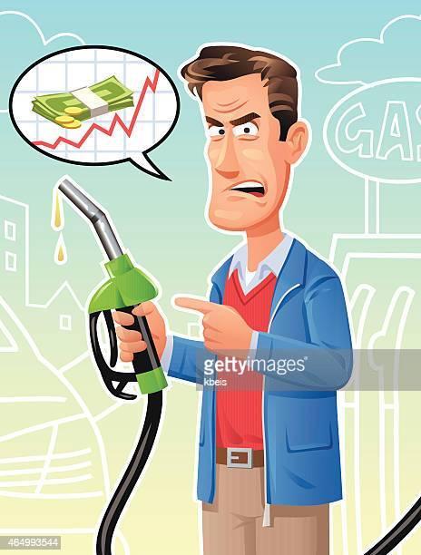 ilustrações, clipart, desenhos animados e ícones de homem se queixar sobre preços da gasolina em - abastecendo