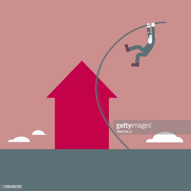 a man crosses the arrow symbol use pole vault. - men's field event stock illustrations