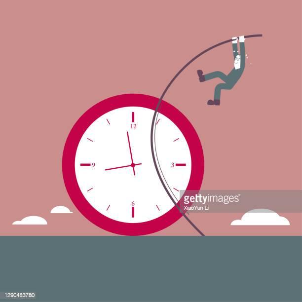 a man crosses the clock use pole vault. - men's field event stock illustrations