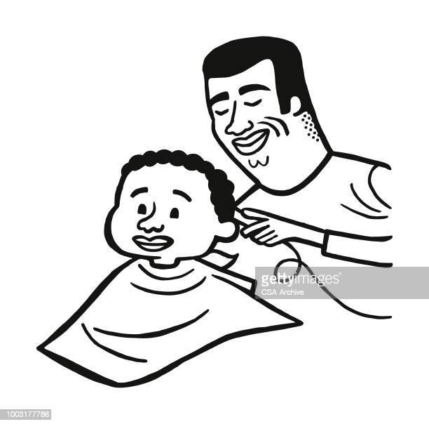 ilustrações de stock, clip art, desenhos animados e ícones de man cutting boys hair - cortar cabelo