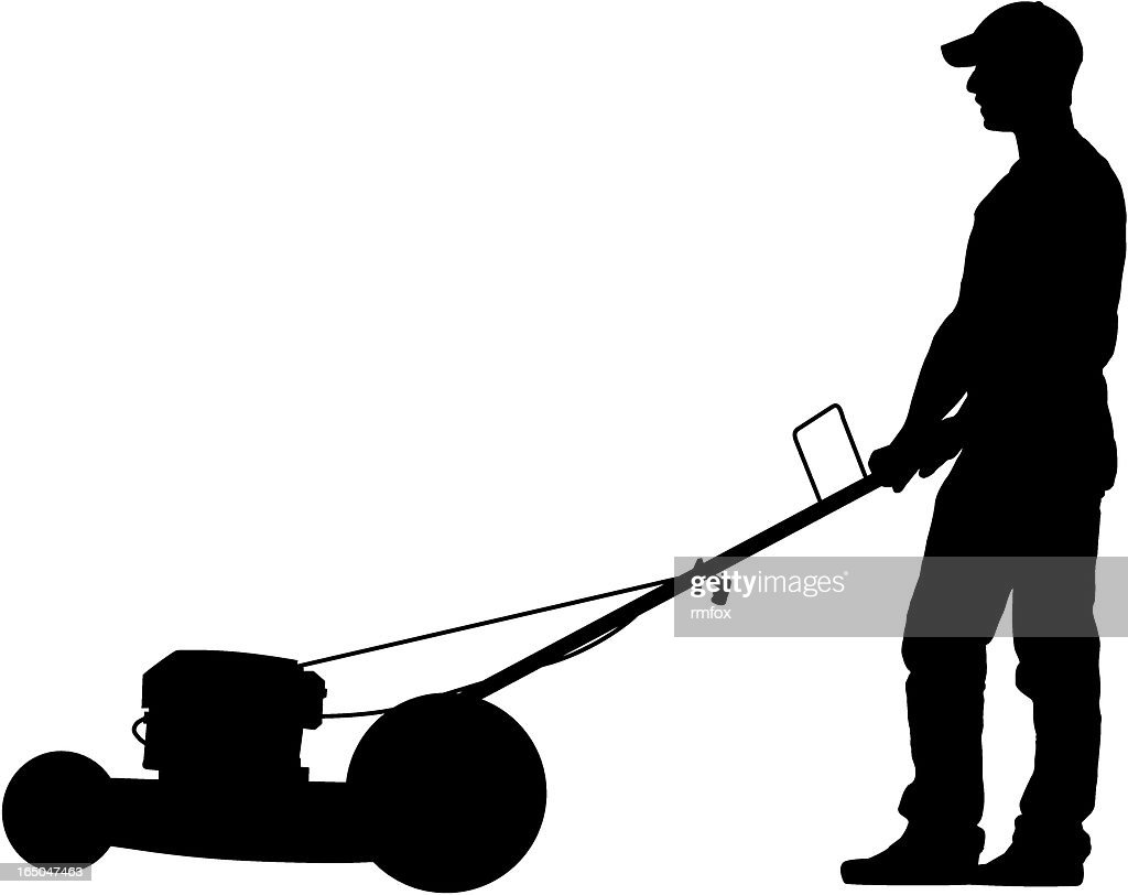man cutting grass vector art