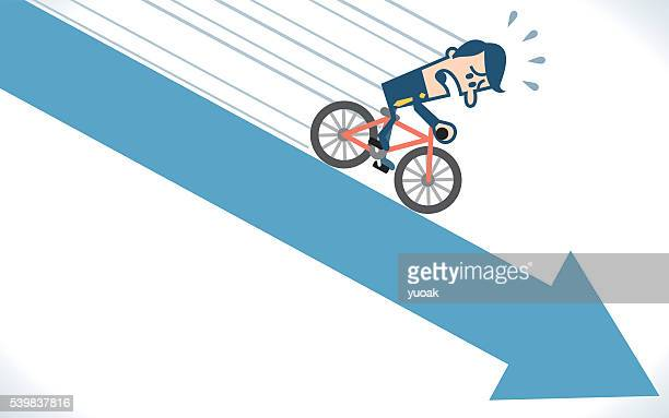 Man cycling on the down arrow