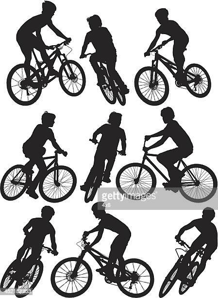 man cycling - motorcycle rider stock illustrations, clip art, cartoons, & icons