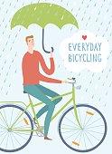Man cyclist under the rain vector illustration