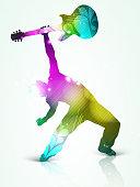 Man dancing and playing guitar.