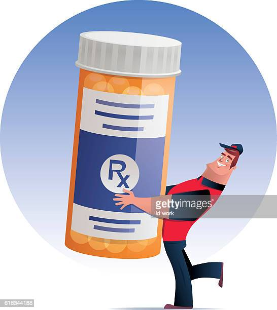 man delivering pill bottle