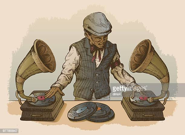 man dj using antique record players as turntables - gramophone stock illustrations, clip art, cartoons, & icons