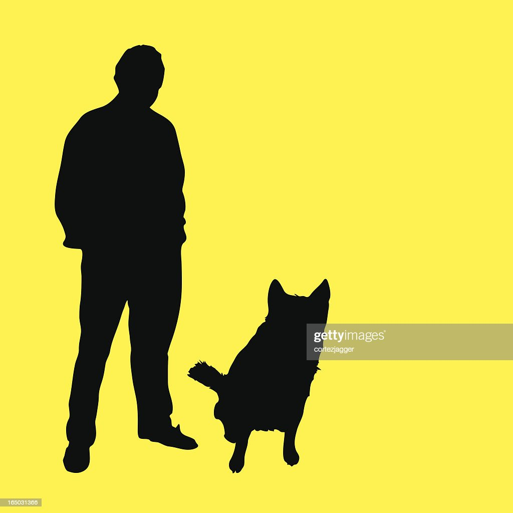 Man Dog Silhouettes stock illustration - Getty Images